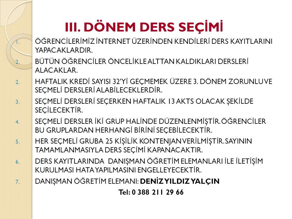 3.YARIYILDA ALINACAK ZORUNLU VE SEÇMELİ DERSLER III.