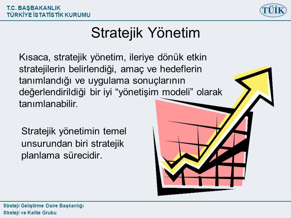 T.C. BAŞBAKANLIK TÜRKİYE İSTATİSTİK KURUMU Strateji Geliştirme Daire Başkanlığı Strateji ve Kalite Grubu Stratejik Yönetim Stratejik yönetimin temel u