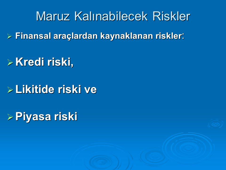 Maruz Kalınabilecek Riskler  Finansal araçlardan kaynaklanan riskler :  Kredi riski,  Likitide riski ve  Piyasa riski