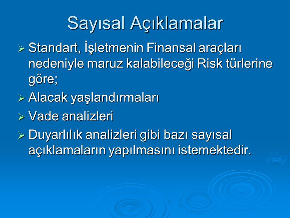 Sayısal Açıklamalar  Standart, İşletmenin Finansal araçları nedeniyle maruz kalabileceği Risk türlerine göre;  Alacak yaşlandırmaları  Vade analizl