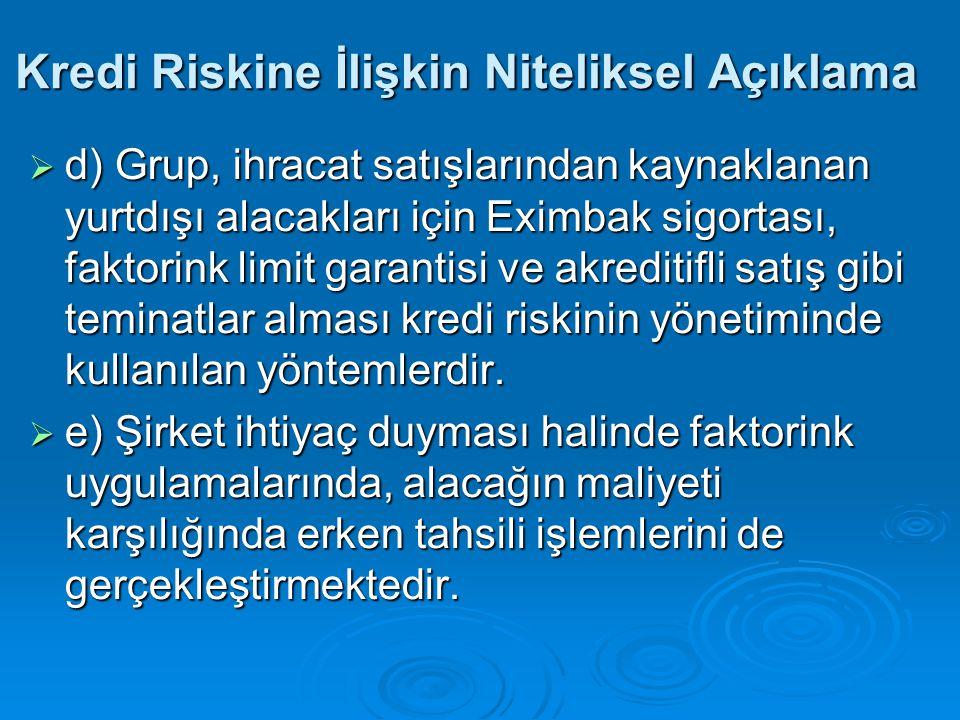 Kredi Riskine İlişkin Niteliksel Açıklama  d) Grup, ihracat satışlarından kaynaklanan yurtdışı alacakları için Eximbak sigortası, faktorink limit gar
