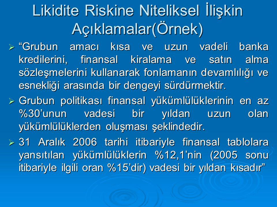 """Likidite Riskine Niteliksel İlişkin Açıklamalar(Örnek)  """"Grubun amacı kısa ve uzun vadeli banka kredilerini, finansal kiralama ve satın alma sözleşme"""