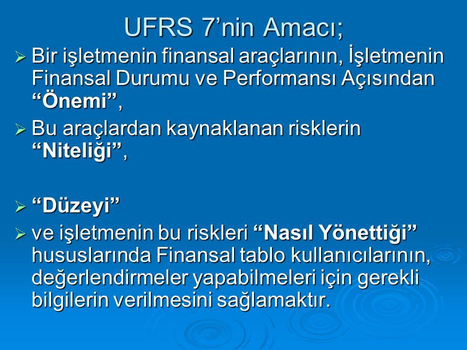 """UFRS 7'nin Amacı;  Bir işletmenin finansal araçlarının, İşletmenin Finansal Durumu ve Performansı Açısından """"Önemi"""",  Bu araçlardan kaynaklanan risk"""