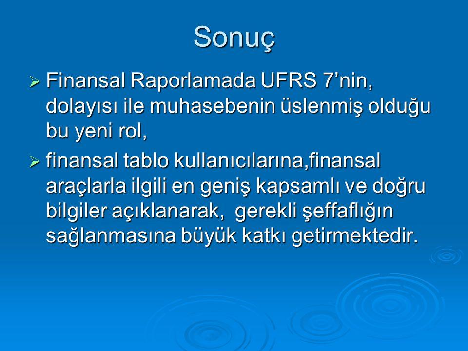 Sonuç  Finansal Raporlamada UFRS 7'nin, dolayısı ile muhasebenin üslenmiş olduğu bu yeni rol,  finansal tablo kullanıcılarına,finansal araçlarla ilg