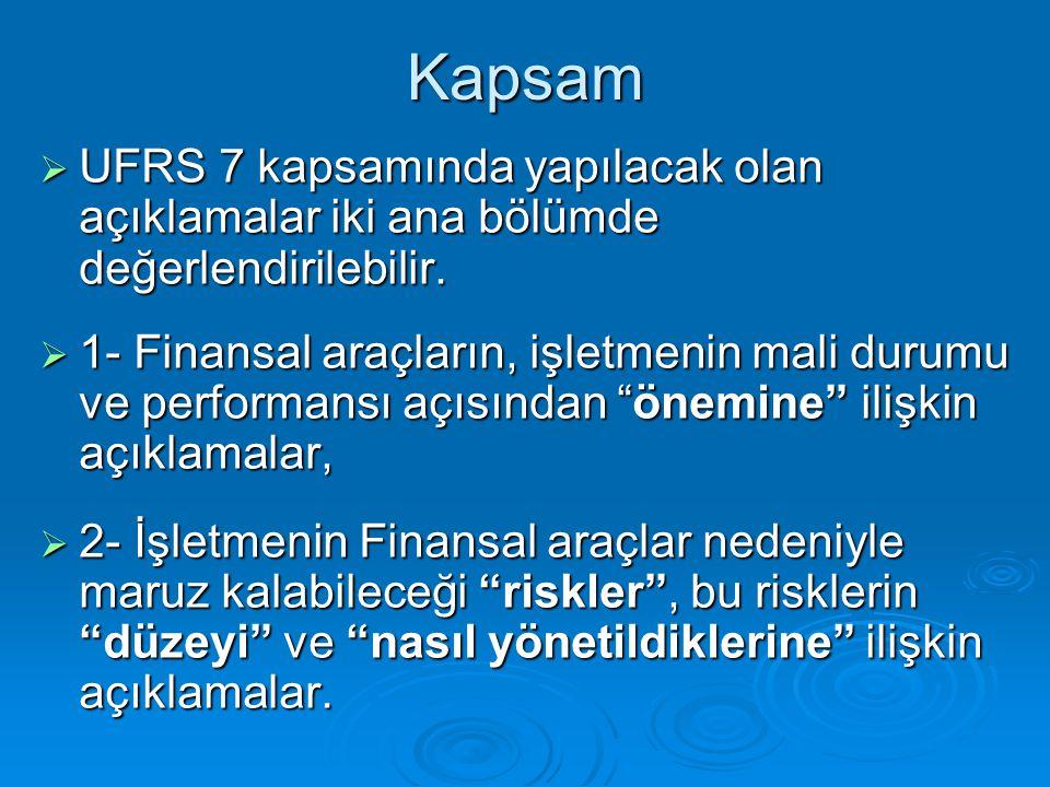 Sonuç  Finansal Raporlamada UFRS 7'nin, dolayısı ile muhasebenin üslenmiş olduğu bu yeni rol,  finansal tablo kullanıcılarına,finansal araçlarla ilgili en geniş kapsamlı ve doğru bilgiler açıklanarak, gerekli şeffaflığın sağlanmasına büyük katkı getirmektedir.