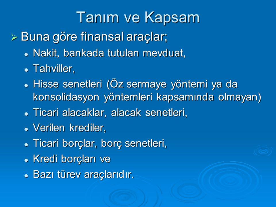 Tanım ve Kapsam  Buna göre finansal araçlar; Nakit, bankada tutulan mevduat, Nakit, bankada tutulan mevduat, Tahviller, Tahviller, Hisse senetleri (Ö