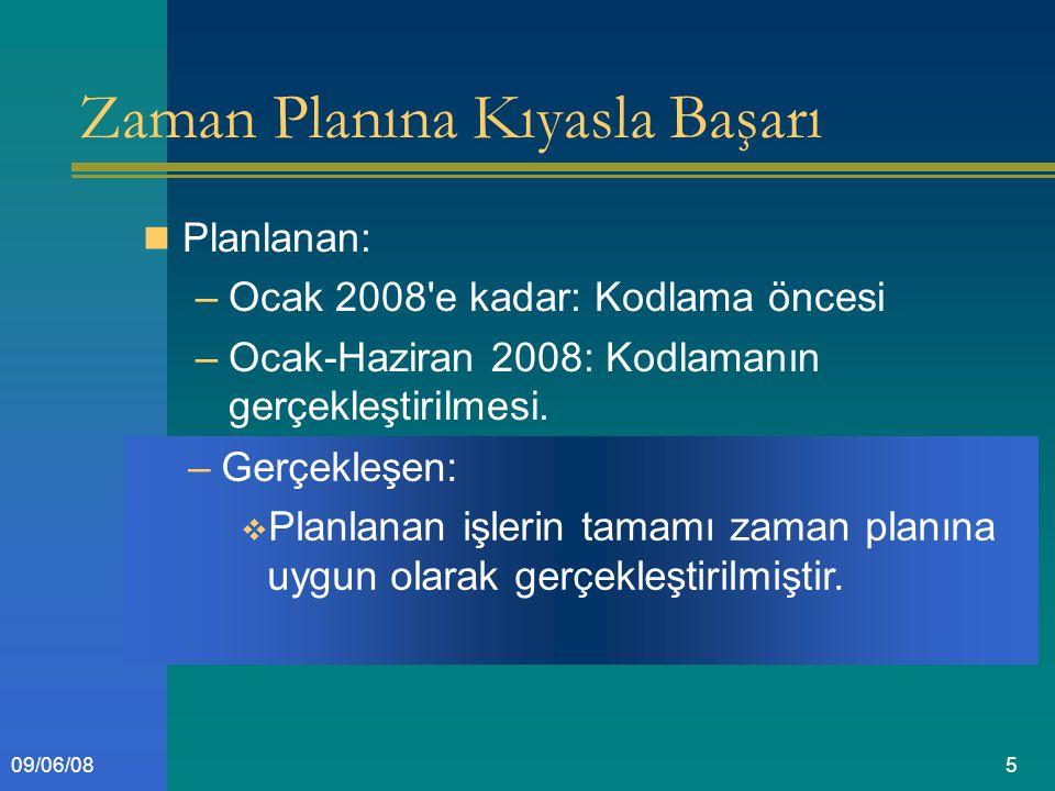 509/06/08 Zaman Planına Kıyasla Başarı Planlanan: –Ocak 2008 e kadar: Kodlama öncesi –Ocak-Haziran 2008: Kodlamanın gerçekleştirilmesi.