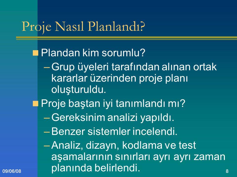 809/06/08 Proje Nasıl Planlandı. Plandan kim sorumlu.