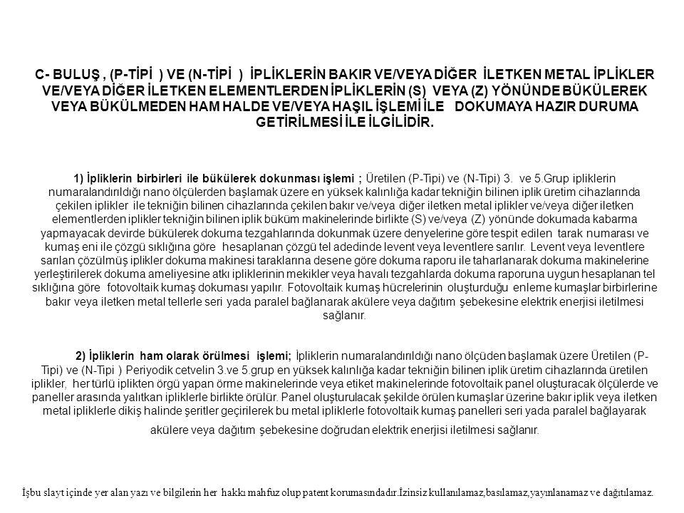 C- BULUŞ, (P-TİPİ ) VE (N-TİPİ ) İPLİKLERİN BAKIR VE/VEYA DİĞER İLETKEN METAL İPLİKLER VE/VEYA DİĞER İLETKEN ELEMENTLERDEN İPLİKLERİN (S) VEYA (Z) YÖN