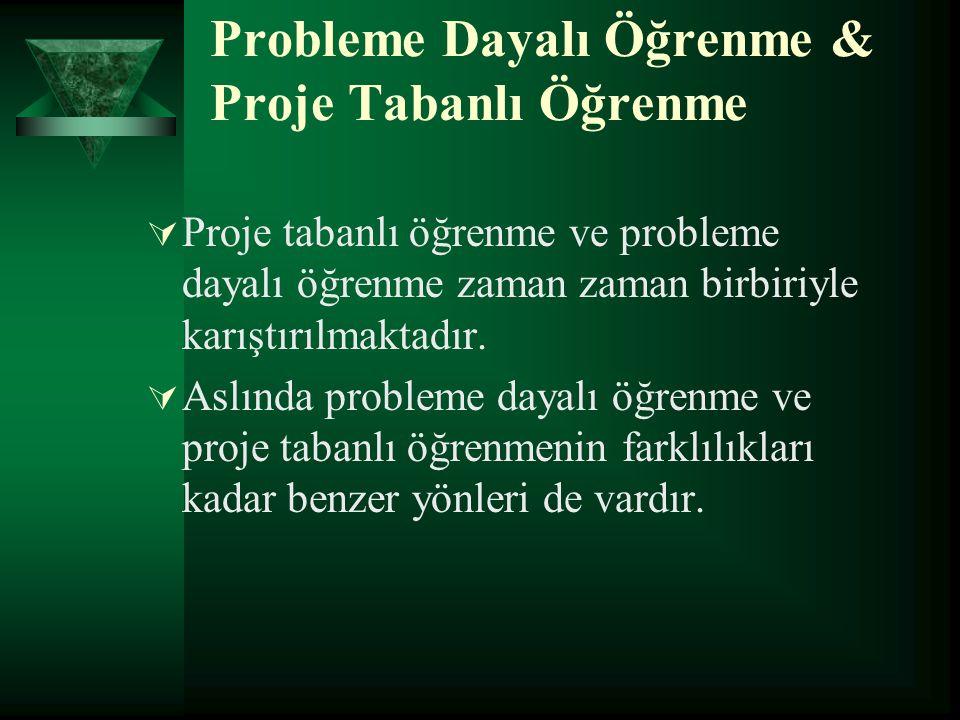 Probleme Dayalı Öğrenme & Proje Tabanlı Öğrenme  Proje tabanlı öğrenme ve probleme dayalı öğrenme zaman zaman birbiriyle karıştırılmaktadır.
