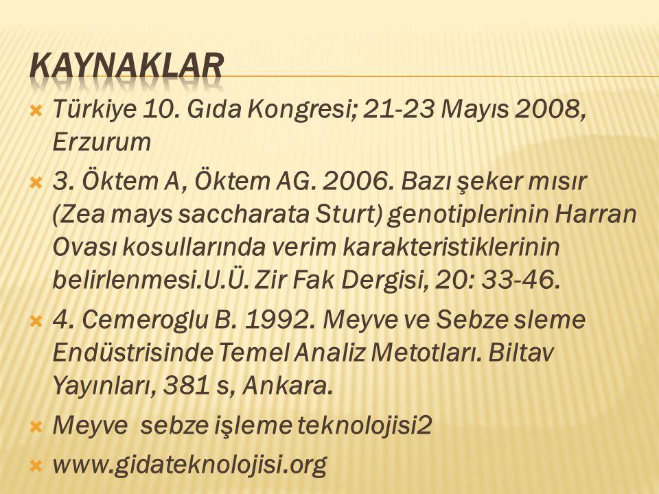  Türkiye 10. Gıda Kongresi; 21-23 Mayıs 2008, Erzurum  3. Öktem A, Öktem AG. 2006. Bazı şeker mısır (Zea mays saccharata Sturt) genotiplerinin Harra