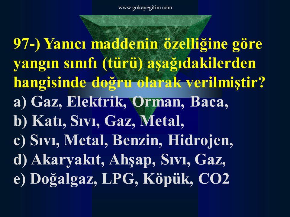 www.gokayegitim.com 97-) Yanıcı maddenin özelliğine göre yangın sınıfı (türü) aşağıdakilerden hangisinde doğru olarak verilmiştir.