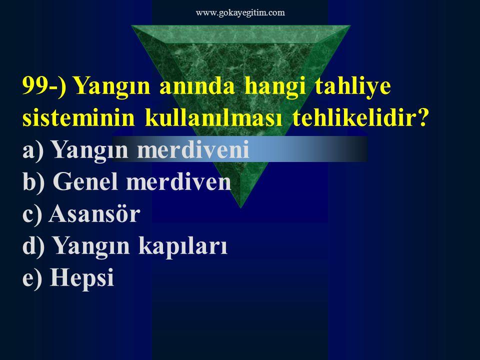 www.gokayegitim.com 99-) Yangın anında hangi tahliye sisteminin kullanılması tehlikelidir.