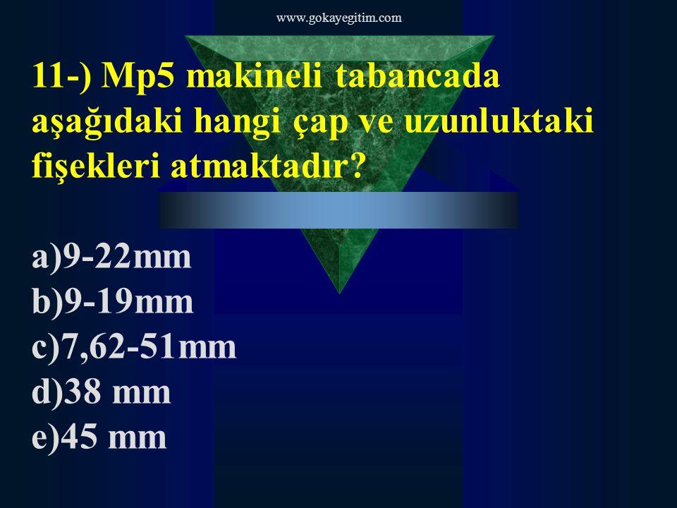 www.gokayegitim.com 11-) Mp5 makineli tabancada aşağıdaki hangi çap ve uzunluktaki fişekleri atmaktadır.