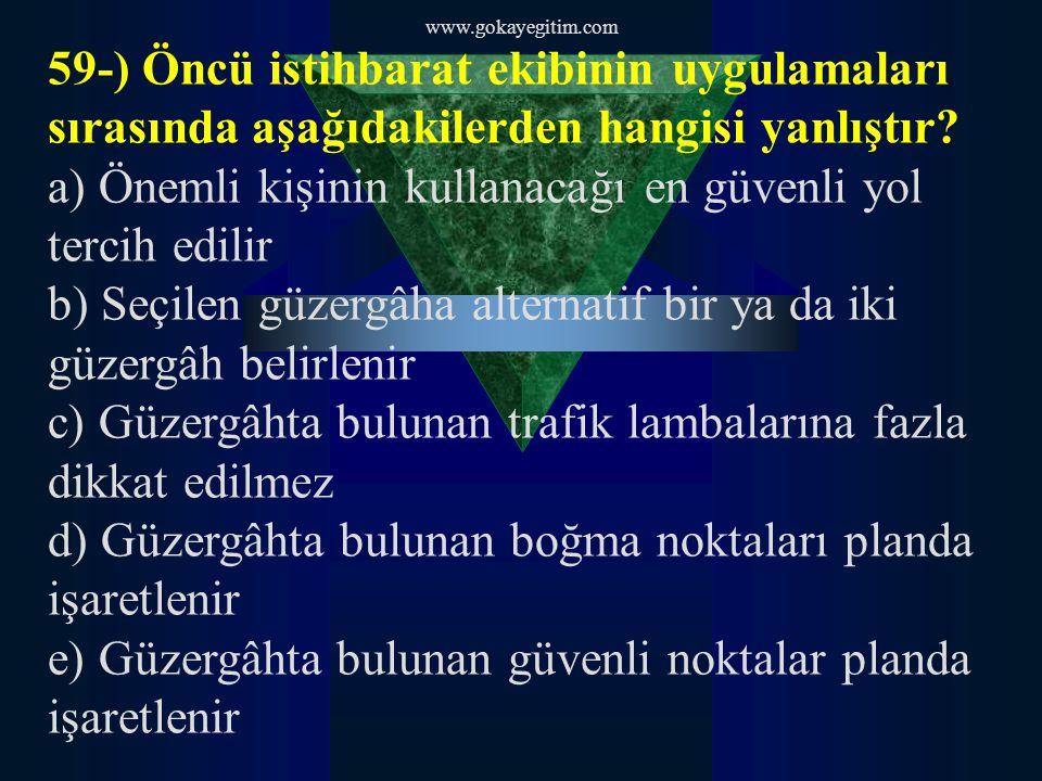 www.gokayegitim.com 59-) Öncü istihbarat ekibinin uygulamaları sırasında aşağıdakilerden hangisi yanlıştır.
