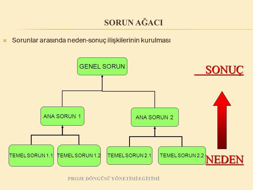  Sorunlar arasında neden-sonuç ilişkilerinin kurulması GENEL SORUN ANA SORUN 1 ANA SORUN 2 TEMEL SORUN 1.1TEMEL SORUN 1.2 TEMEL SORUN 2.1TEMEL SORUN