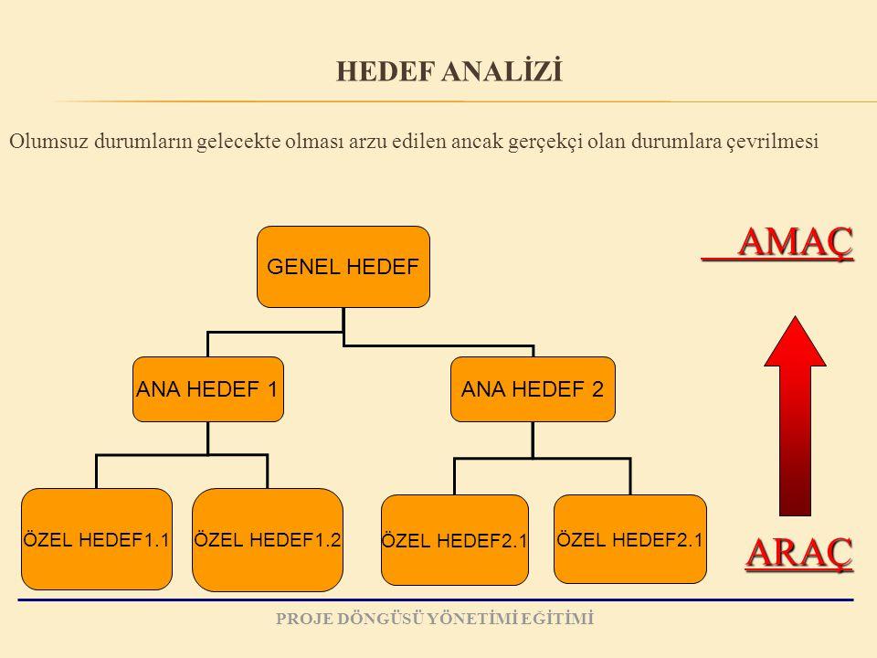 Olumsuz durumların gelecekte olması arzu edilen ancak gerçekçi olan durumlara çevrilmesi GENEL HEDEF ANA HEDEF 1ANA HEDEF 2 ÖZEL HEDEF1.1 ÖZEL HEDEF1.