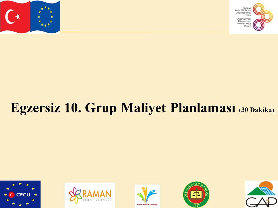 90 Egzersiz 10. Grup Maliyet Planlaması (30 Dakika)