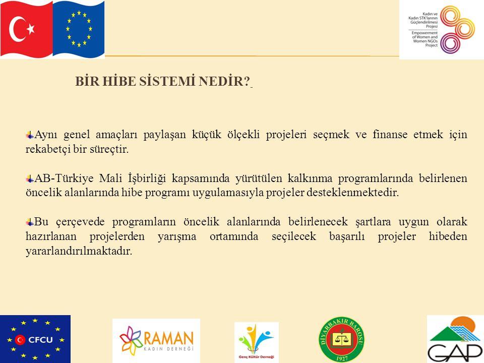 93 BİR HİBE SİSTEMİ NEDİR? Aynı genel amaçları paylaşan küçük ölçekli projeleri seçmek ve finanse etmek için rekabetçi bir süreçtir. AB-Türkiye Mali İ