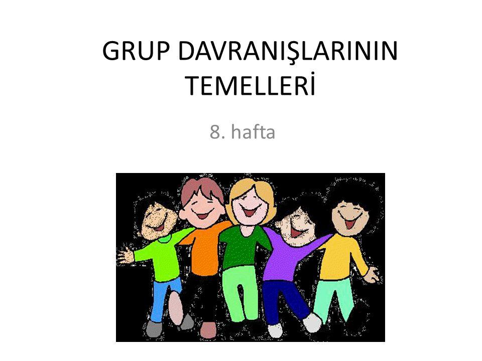 GRUP TANIMI VE SINIFLANDIRILMASI Grup: belirli bir amacı yerine getirmek için karşılıklı bağımlılık ve etkileşim içinde 2 ya da daha fazla bireyin meydana getirdiği yapı.