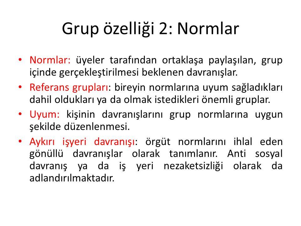 Grup özelliği 2: Normlar Normlar: üyeler tarafından ortaklaşa paylaşılan, grup içinde gerçekleştirilmesi beklenen davranışlar. Referans grupları: bire