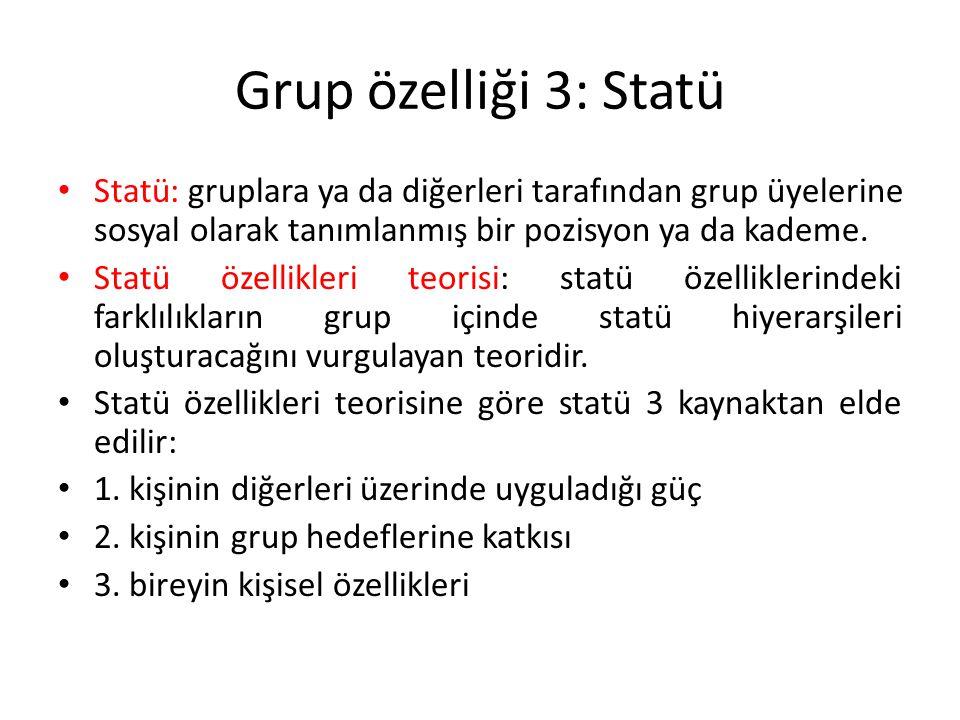Grup özelliği 3: Statü Statü: gruplara ya da diğerleri tarafından grup üyelerine sosyal olarak tanımlanmış bir pozisyon ya da kademe. Statü özellikler