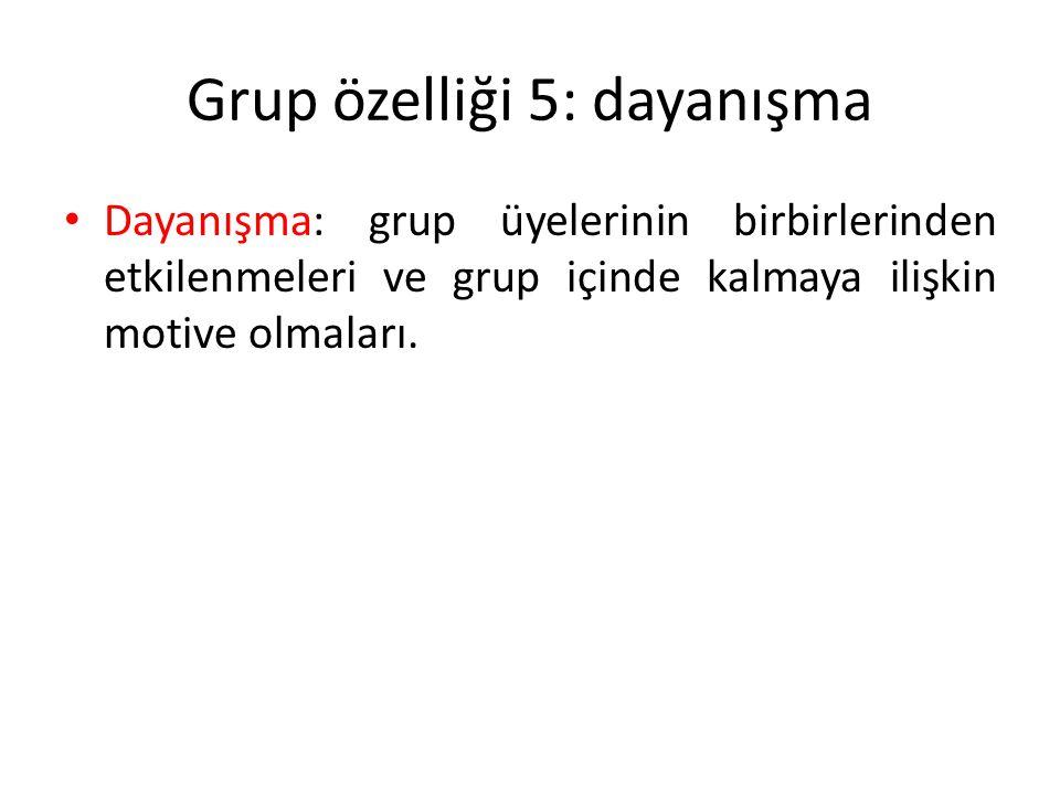 Grup özelliği 5: dayanışma Dayanışma: grup üyelerinin birbirlerinden etkilenmeleri ve grup içinde kalmaya ilişkin motive olmaları.