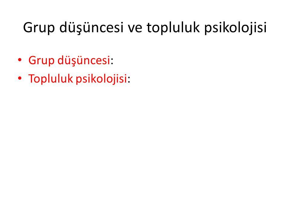 Grup düşüncesi ve topluluk psikolojisi Grup düşüncesi: Topluluk psikolojisi: