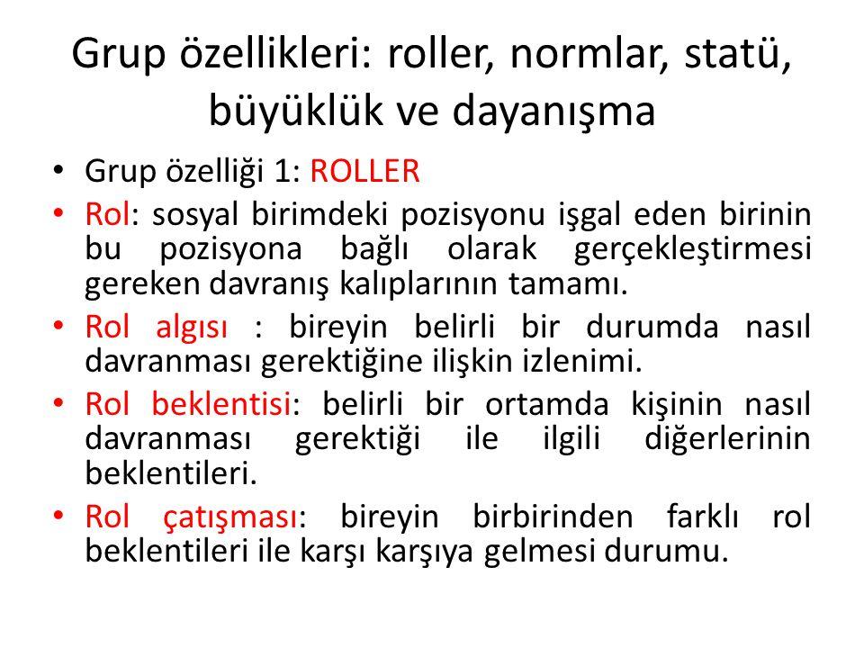 Grup özellikleri: roller, normlar, statü, büyüklük ve dayanışma Grup özelliği 1: ROLLER Rol: sosyal birimdeki pozisyonu işgal eden birinin bu pozisyon