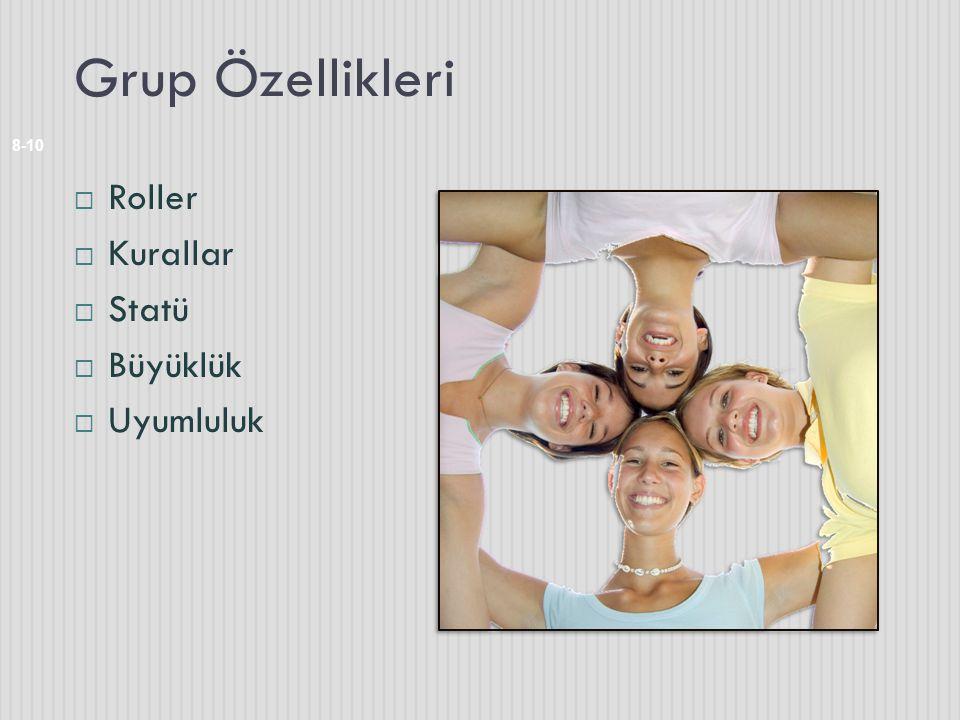 Grup Özellikleri  Roller  Kurallar  Statü  Büyüklük  Uyumluluk 8-10