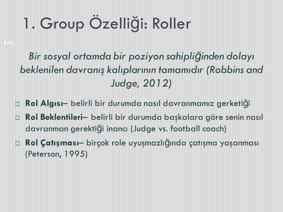 1. Group Özelli ğ i: Roller 8-11 Bir sosyal ortamda bir poziyon sahipli ğ inden dolayı beklenilen davranış kalıplarının tamamıdır (Robbins and Judge,