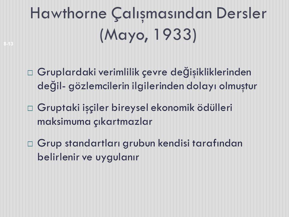 Hawthorne Çalışmasından Dersler (Mayo, 1933) 8-13  Gruplardaki verimlilik çevre de ğ işikliklerinden de ğ il- gözlemcilerin ilgilerinden dolayı olmuş