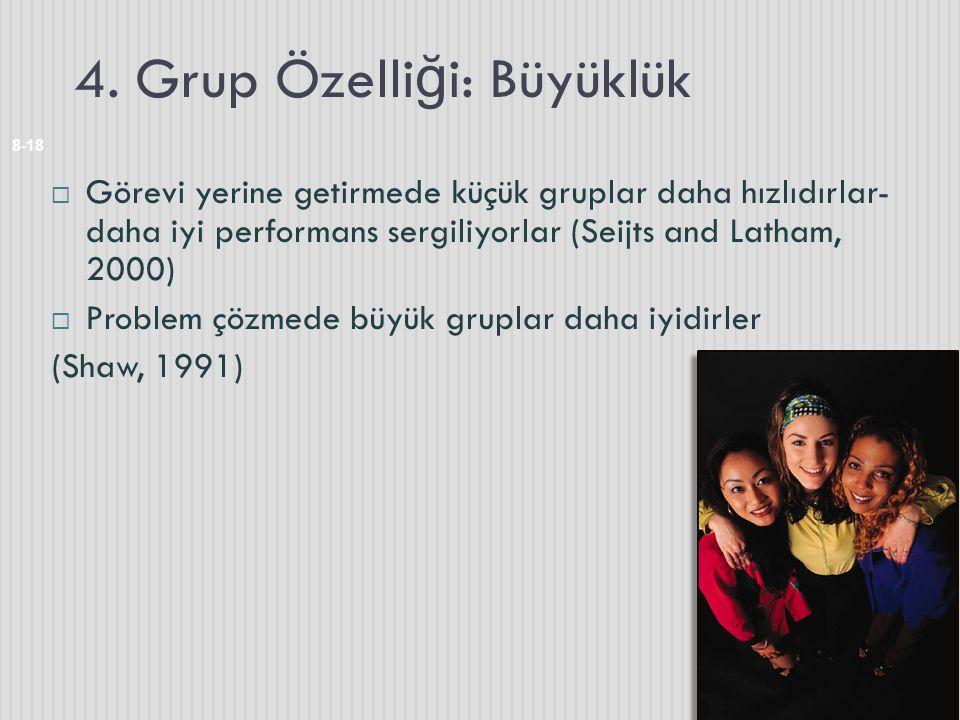 4. Grup Özelli ğ i: Büyüklük 8-18  Görevi yerine getirmede küçük gruplar daha hızlıdırlar- daha iyi performans sergiliyorlar (Seijts and Latham, 2000
