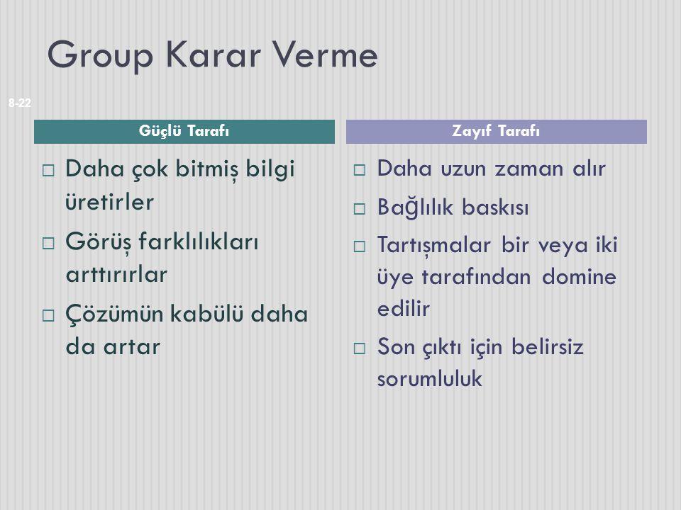 Group Karar Verme  Daha çok bitmiş bilgi üretirler  Görüş farklılıkları arttırırlar  Çözümün kabülü daha da artar  Daha uzun zaman alır  Ba ğ lıl
