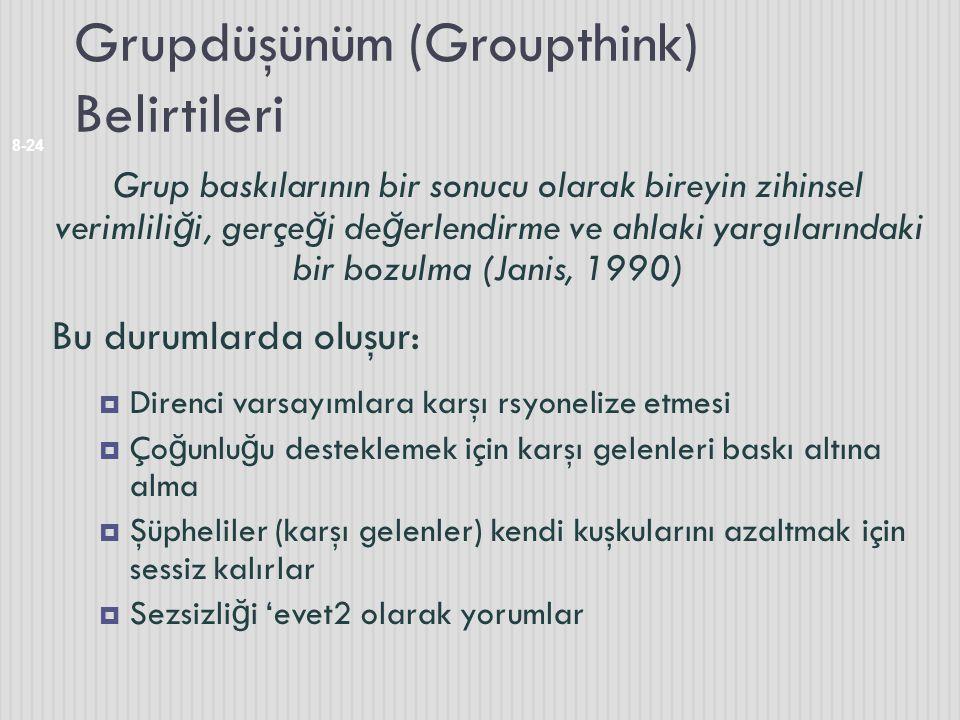 Grupdüşünüm (Groupthink) Belirtileri 8-24 Grup baskılarının bir sonucu olarak bireyin zihinsel verimlili ğ i, gerçe ğ i de ğ erlendirme ve ahlaki yarg