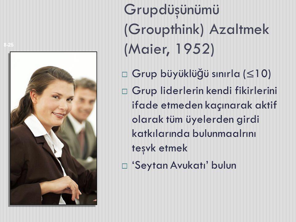 Grupdüşünümü (Groupthink) Azaltmek (Maier, 1952) 8-25  Grup büyüklü ğ ü sınırla (≤10)  Grup liderlerin kendi fikirlerini ifade etmeden kaçınarak akt