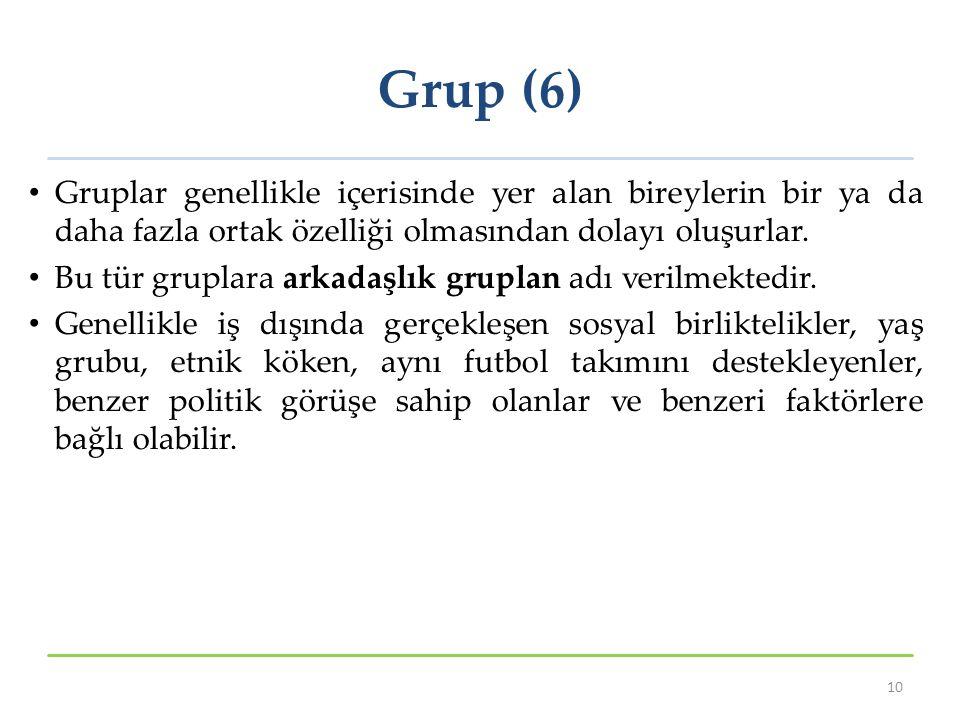 Grup (6) Gruplar genellikle içerisinde yer alan bireylerin bir ya da daha fazla ortak özelliği olmasından dolayı oluşurlar. Bu tür gruplara arkadaşlık