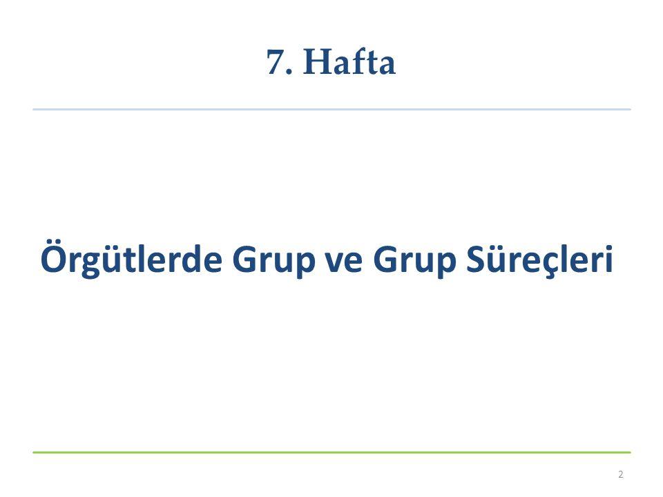 7. Hafta Örgütlerde Grup ve Grup Süreçleri 2