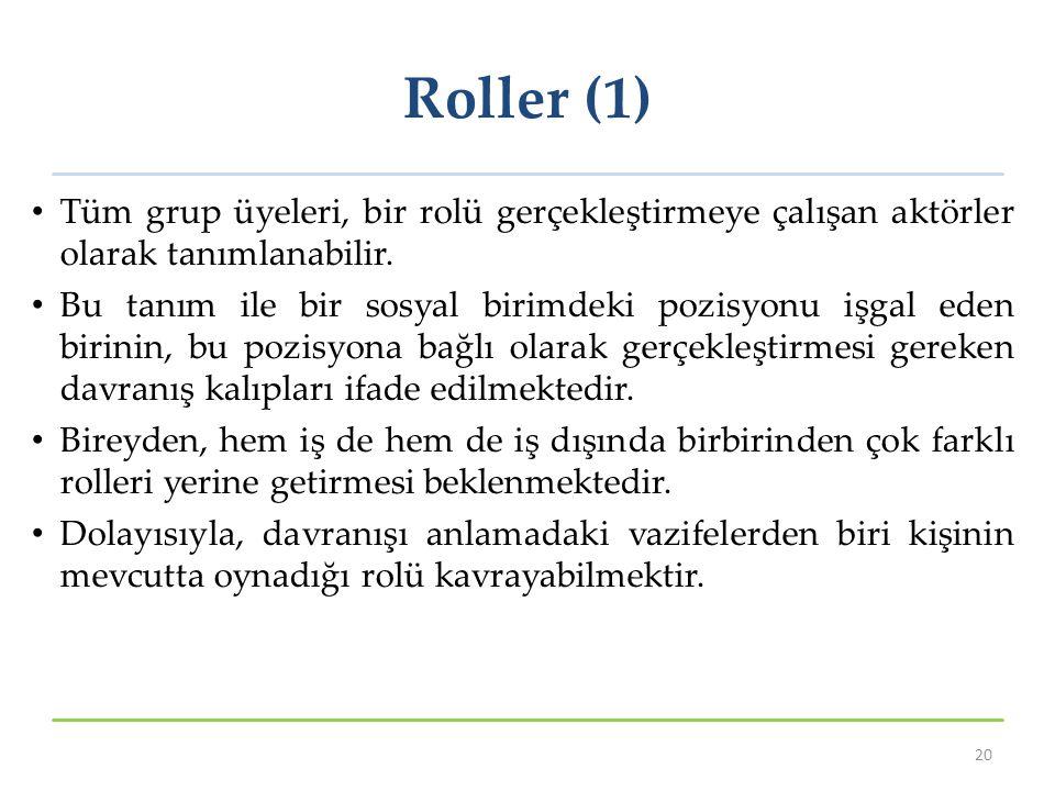 Roller (1) Tüm grup üyeleri, bir rolü gerçekleştirmeye çalışan aktörler olarak tanımlanabilir. Bu tanım ile bir sosyal birimdeki pozisyonu işgal eden