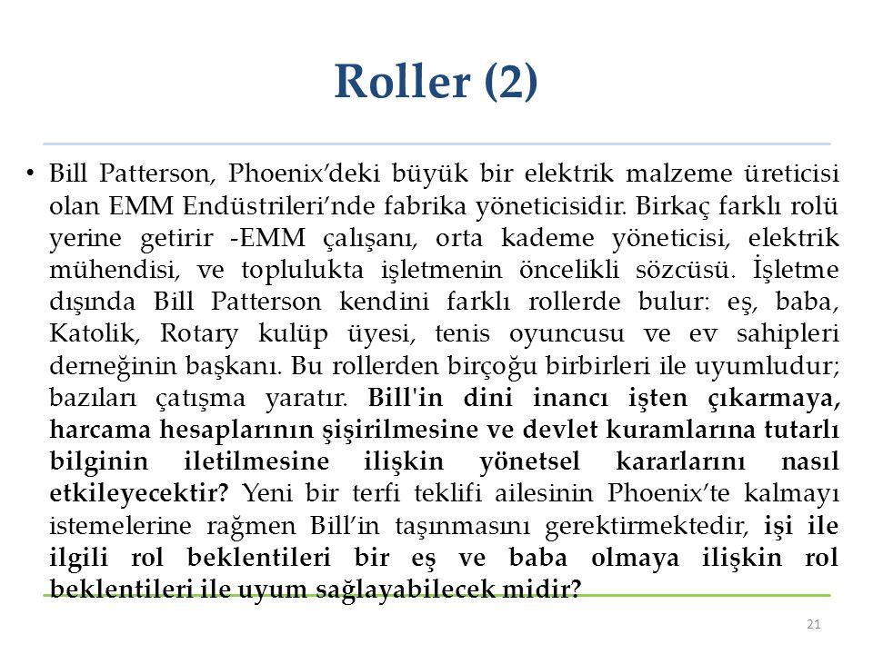 Roller (2) Bill Patterson, Phoenix'deki büyük bir elektrik malzeme üreticisi olan EMM Endüstrileri'nde fabrika yöneticisidir. Birkaç farklı rolü yerin