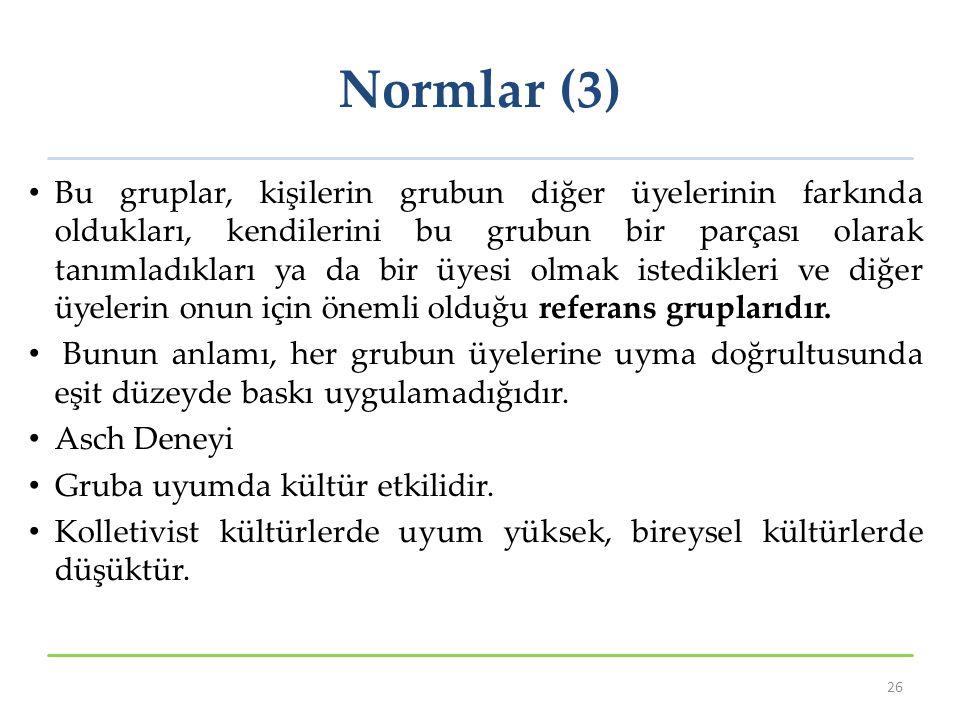 Normlar (3) Bu gruplar, kişilerin grubun diğer üyelerinin farkında oldukları, kendilerini bu grubun bir parçası olarak tanımladıkları ya da bir üyesi