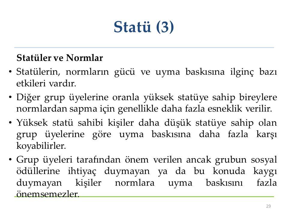 Statü (3) Statüler ve Normlar Statülerin, normların gücü ve uyma baskısına ilginç bazı etkileri vardır. Diğer grup üyelerine oranla yüksek statüye sah