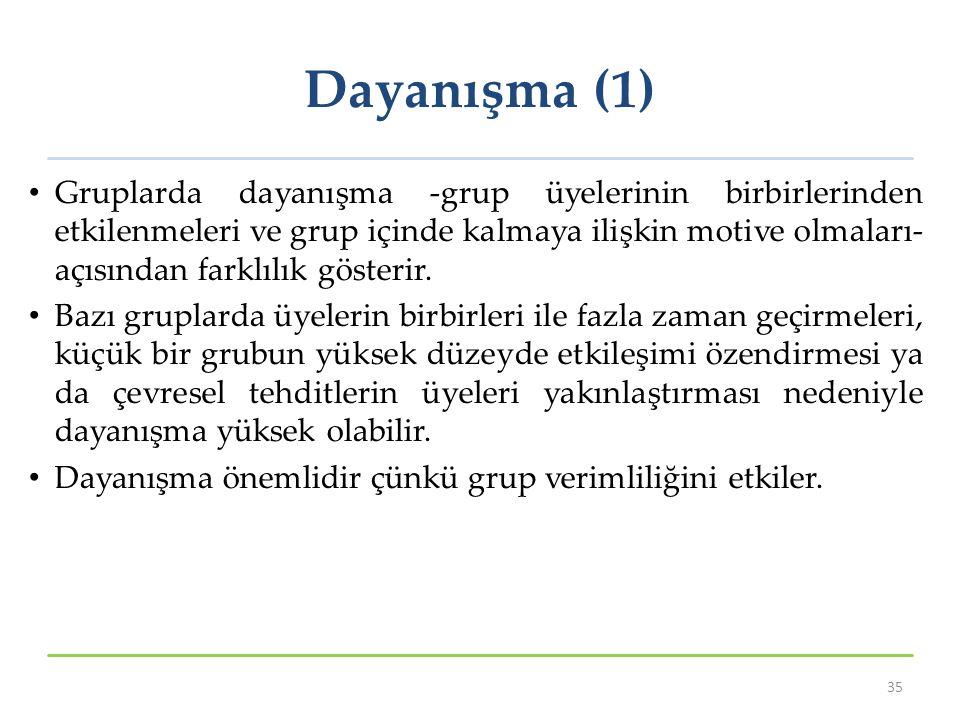 Dayanışma (1) Gruplarda dayanışma -grup üyelerinin birbirlerinden etkilenmeleri ve grup içinde kalmaya ilişkin motive olmaları- açısından farklılık gö
