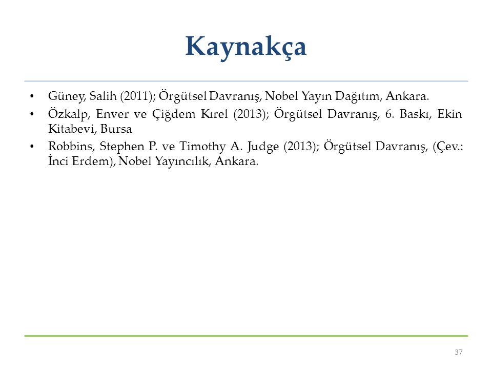 Kaynakça Güney, Salih (2011); Örgütsel Davranış, Nobel Yayın Dağıtım, Ankara. Özkalp, Enver ve Çiğdem Kırel (2013); Örgütsel Davranış, 6. Baskı, Ekin