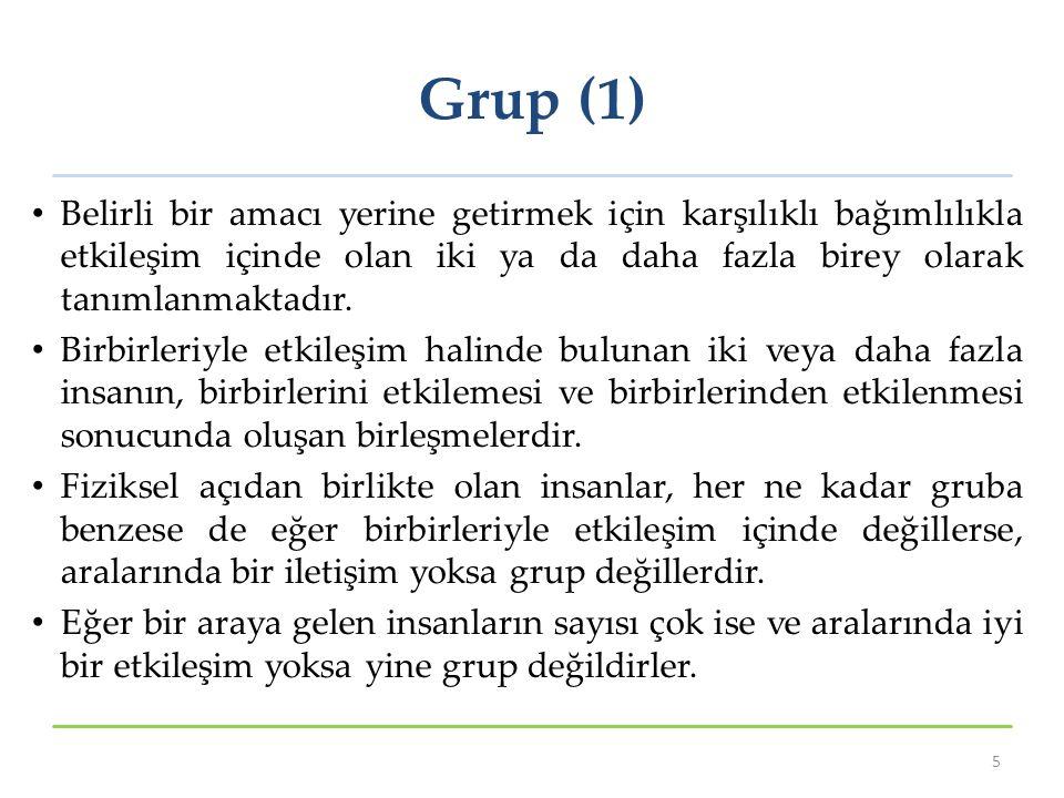 Grup (1) Belirli bir amacı yerine getirmek için karşılıklı bağımlılıkla etkileşim içinde olan iki ya da daha fazla birey olarak tanımlanmaktadır. Birb
