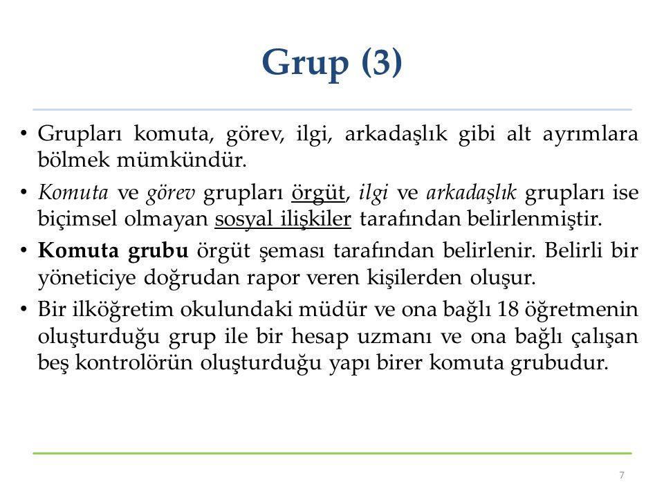 Grup (3) Grupları komuta, görev, ilgi, arkadaşlık gibi alt ayrımlara bölmek mümkündür. Komuta ve görev grupları örgüt, ilgi ve arkadaşlık grupları ise
