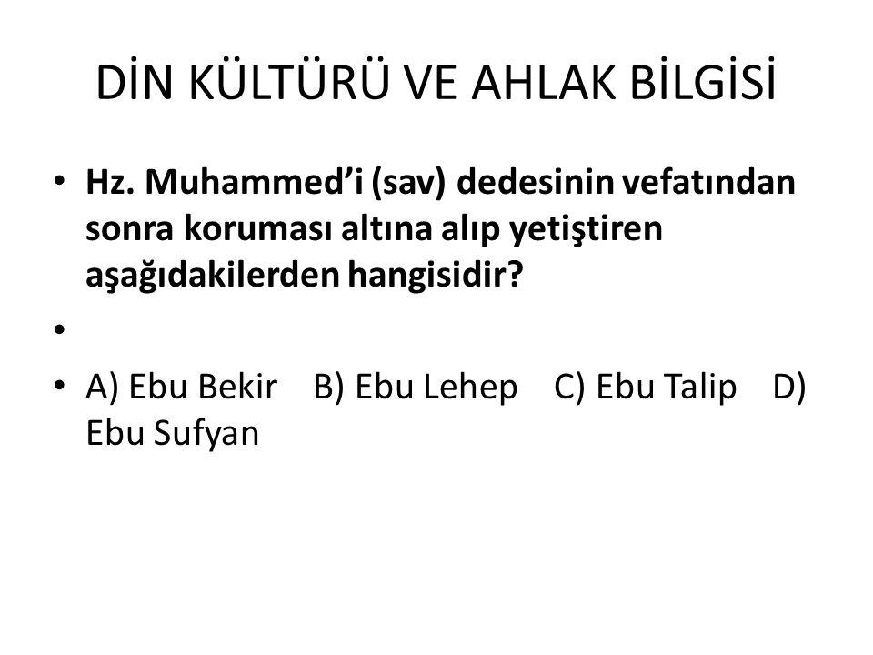 DİN KÜLTÜRÜ VE AHLAK BİLGİSİ Hz. Muhammed'i (sav) dedesinin vefatından sonra koruması altına alıp yetiştiren aşağıdakilerden hangisidir? A) Ebu Bekir