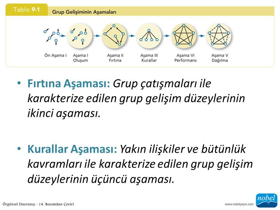 Fırtına Aşaması: Grup çatışmaları ile karakterize edilen grup gelişim düzeylerinin ikinci aşaması. Kurallar Aşaması: Yakın ilişkiler ve bütünlük kavra
