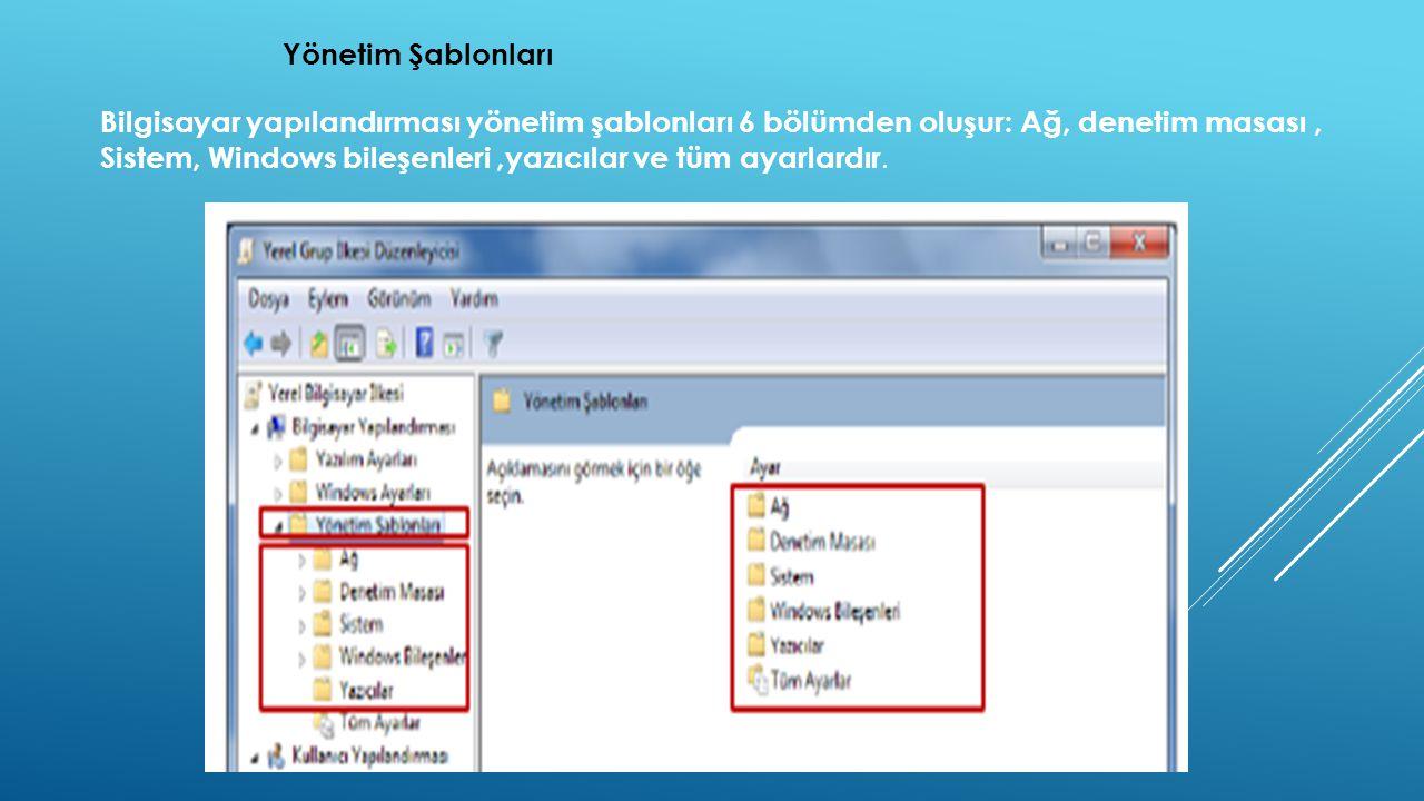Yönetim Şablonları Bilgisayar yapılandırması yönetim şablonları 6 bölümden oluşur: Ağ, denetim masası, Sistem, Windows bileşenleri,yazıcılar ve tüm ayarlardır.