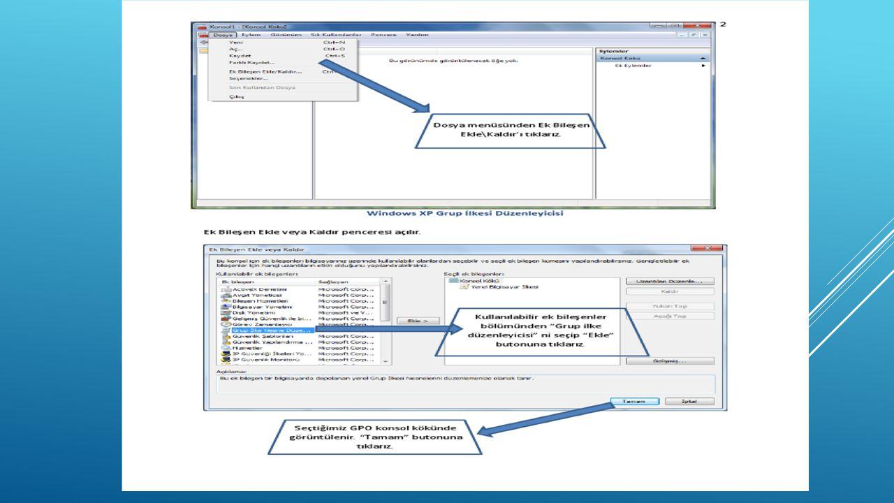 Windows xp Grup İlkesi Düzenleyicisi Ek Bileşen Ekle veya Kaldır penceresi açılır.